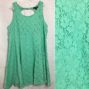 LANE BRYANT full lace turquoise fit & flare dress